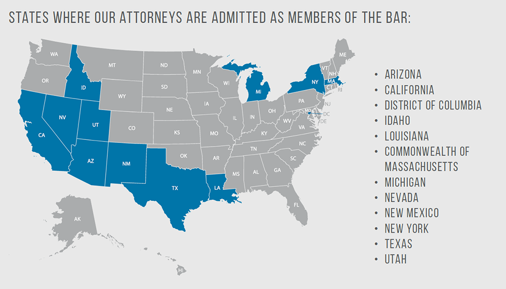 States Where our Attorneys are Admitted to the Bar